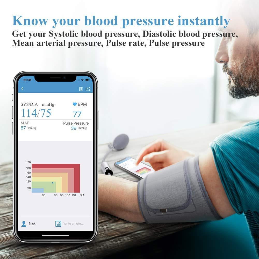 Ultra portátil sem fio bluetooth monitor de pressão arterial braço superior grande manguito multi usuários com app fda aprovado viatom airbp - 3