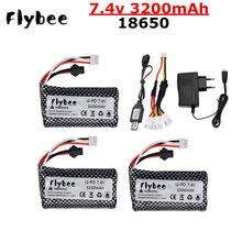 Batterie Lipo 7.4V 3200mAh pour WPL MN99S D90 U12A S033g Q1 H101 Rc, pièces de Drones, bateaux, voitures, chars, 7.4V 18650 avec SM