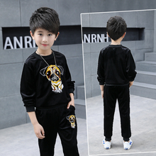 цены 2019 New Baby Clothing Set Long Sleeve Baby Boys Set Autumn pleuche Sweatshirts+Pant Baby Boy Clothing Sport Kid Clothes Set
