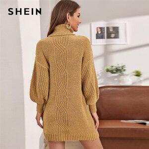 Image 4 - Женское трикотажное платье свитер SHEIN, зимнее прямое платье свитер с рукавами фонариками и высоким воротником без пояса