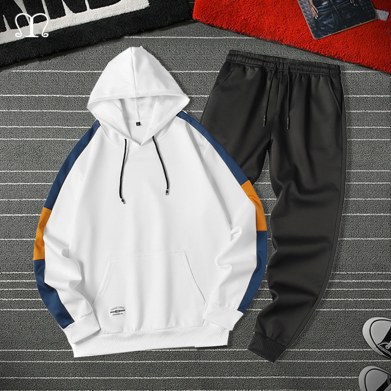 Patchwork Tracksuit Men Fashion Autumn Jogger Sports Sportswear Suits Spring Hip Hop Hoodies Pants Two Pieces Set Male Sweatsuit