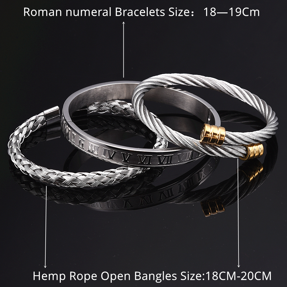 3pcs/Set Roman Numeral Men Bracelet Handmade Stainless Steel Hemp Rope Buckle Open Bangles Pulseira Bileklik Luxury Jewelry