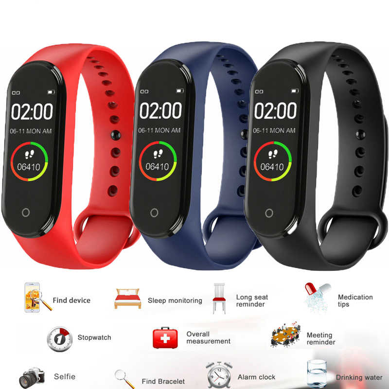 Colorful M4 Smart Watch Information Reminder Waterproof Bluetooth Blood Pressure Monitor Men And Women Bracelet Multi-Language