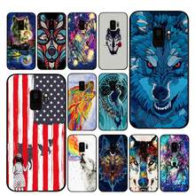 Lobo indiano Arte Da Caixa Do Telefone para Samsung Galaxy A6 A8 Plus A7 A9 2018 A5 2017 18 J530 J7 J8(China)