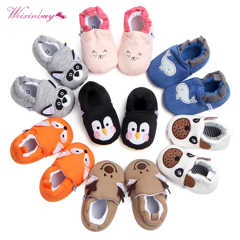 Hot Sale Spring Autumn Winter Baby Boy Girl Shoes First Walker Cute Warm Cartoon Shape Cotton Comfortable Slippers Shoes 0-18M