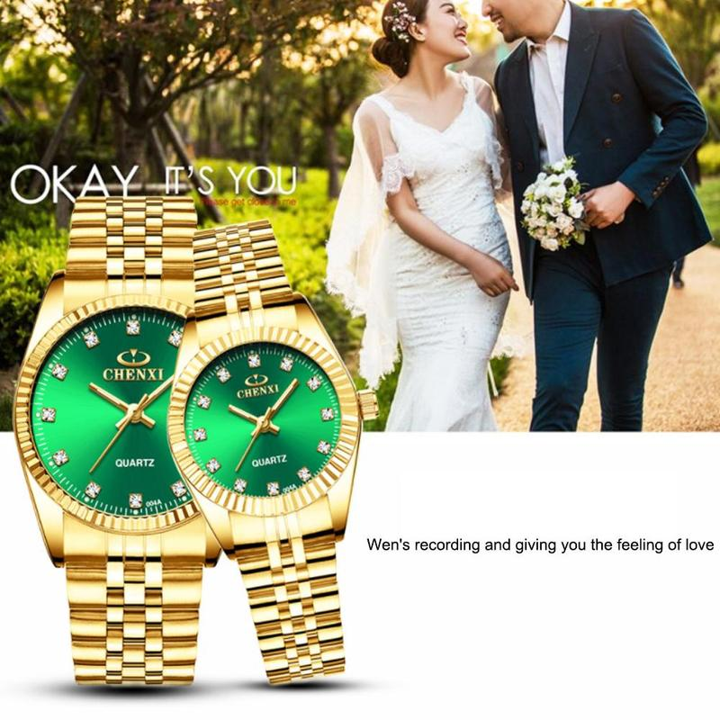 CHENXI Couple Quartz Watches Golden & Silver Classic Waterproof Watch Lady Elegant Luxury Wristwatch Wedding Exchange Gift Clock