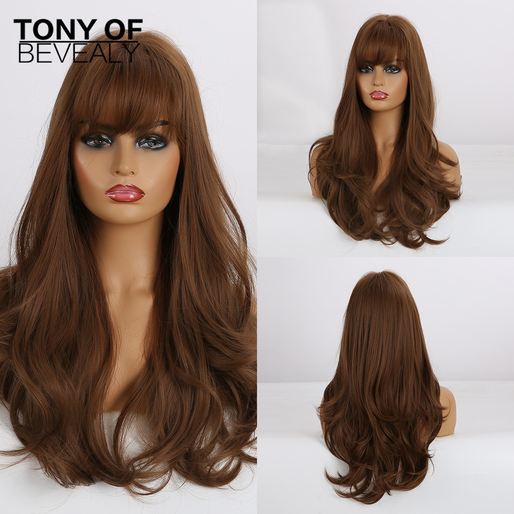 Long Wavy Brown Synthetic Hair Wigs With Bangs For Afro Women Glueless Cosplay Natural Wigs Heat Resistant Fiber Fake Hair
