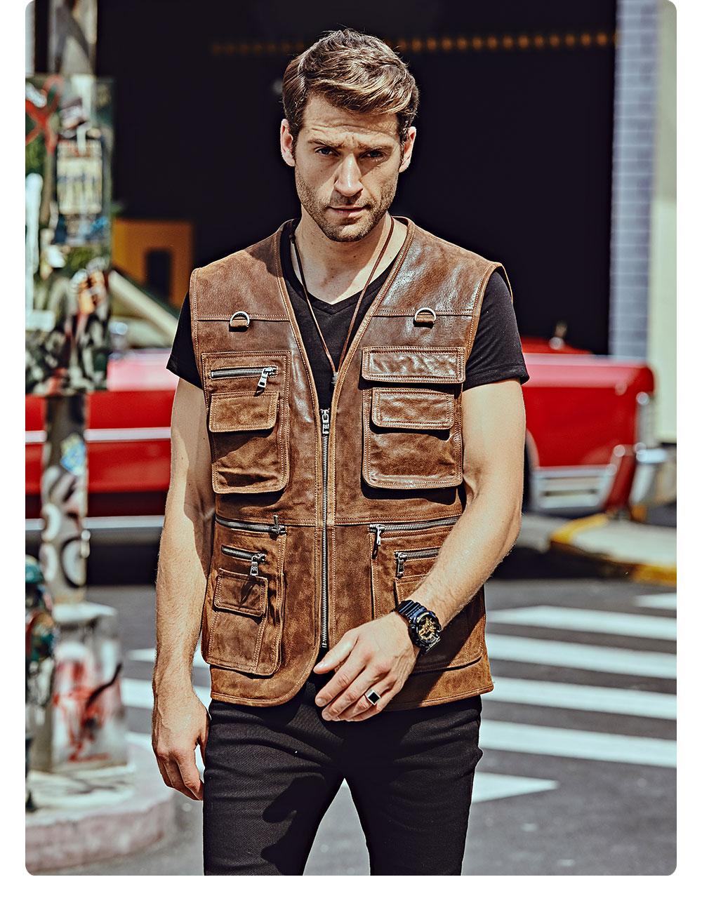 H904a1602bc9b4663adb49fe2a9d74af8S FLAVOR New Men's Real Leather Vest Men's Motorcycle Fishing Outdoor Travel Vests