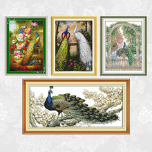 Peacock series patterns printed cross stitch 11ct 14ct diy embroidery