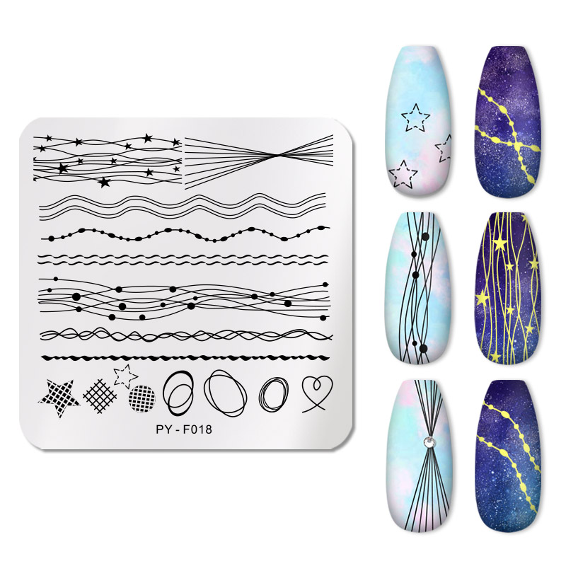 PICT You Nail Stamping Plates Line Geometry Design Square Stamp Template Stainless Steel Nail Art Image Plate Stencil Tools