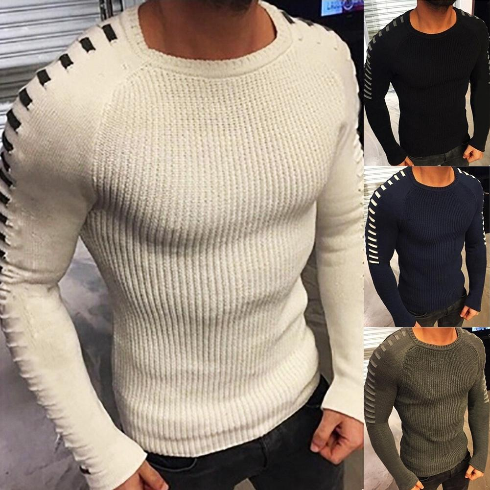 Autumn And Winter Sweater Men Slim Long-sleeved Round Neck Warm Knit Sweater Show Body