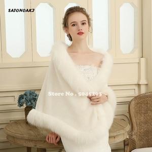 Image 3 - Hot Sale 2020 Cheap Wedding Jacket Bride Wraps Cape Winter Wedding Dress Wraps Bolero Wedding Fur Bridal Coat Accessories
