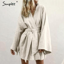 Simplee 일본식 v 목 여성 코튼 드레스 단색 흰색 새시 여성 드레스 여름 캐주얼 소프트 비치웨어 숙녀 드레스 2019