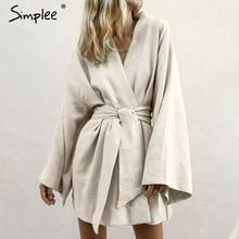 Simplee יפני סגנון v צוואר נשים כותנה שמלת מוצק לבן אבנט נשי שמלת קיץ מקרית רך חוף ללבוש גבירותיי שמלת 2019