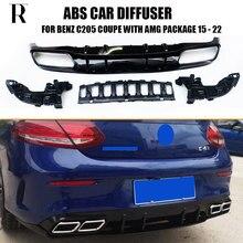 Protecteur de diffuseur arrière ABS 4 sorties, Style C63s, pour Benz W205 C205 Coupe 2DR C200 C220 C300 C43 C63, avec emballage Amg, 2015 – 2022