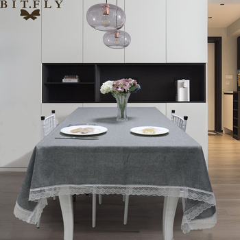 BIT.FLY Table Cloth Decorative Tablecloth Imitation Linen Lace Table Cloth Dining Table Cover Gray/Khaki Home Decoration simanfei linen table cloth country style plaid print stylish rectangle table cover tablecloth home kitchen decoration