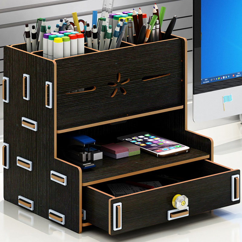 Wooden Storage Box Bookends Multifunctional Desktop Rack Office Organizer VDX99