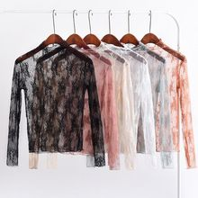 Blouse Long-Sleeve Tops Womens Summer Lace Spring Pullover Mock-Neck See-Through-Mesh-Basic