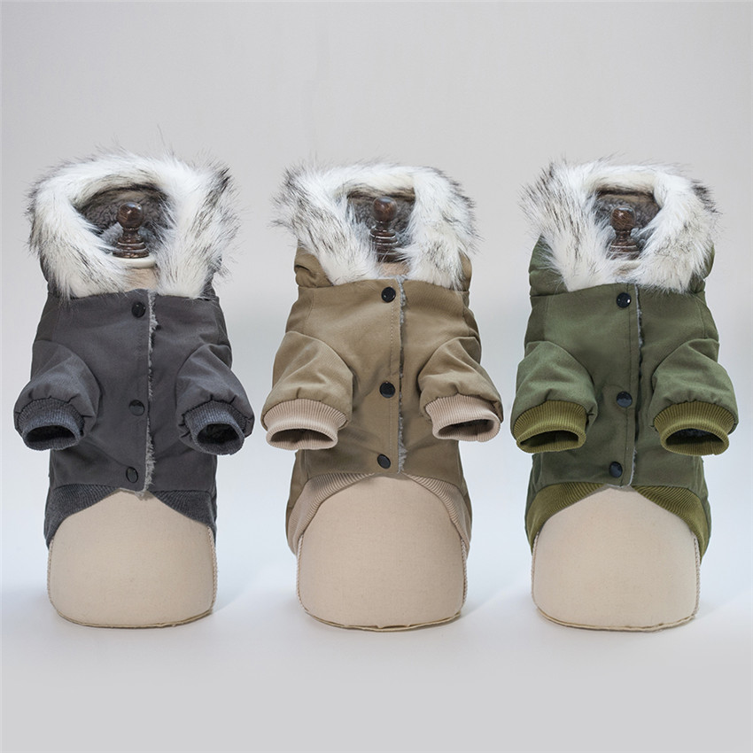 Thicken and Warm Dog Jacket with Hoodie and Pockets to Protect Dog from Cold 2