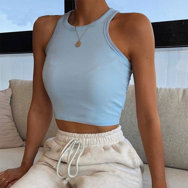 Tank Tops Sexy Crop Vest Solid Harajuku Korean Female Off Shoulder Knitted Khaki White Summer Women Tops 4