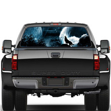 1pcs Wolf Howling Snow Moon Sky Galaxy Car Body Racing Side Door Long Stripe Stickers Auto Vinyl Decal Rear Window Sticker