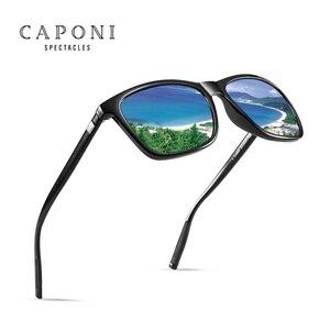 Image 3 - CAPONI Marke Unisex Retro Aluminium + TR90 Platz Photochrome Sonnenbrille Polarisierte Beschichtung Objektiv Vintage Sonnenbrille Für Männer BS387