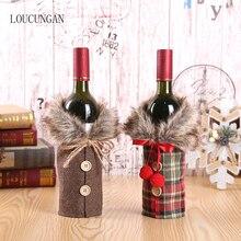 Новогодняя Рождественская бутылка вина, пылезащитный чехол, подарок Санта-Клауса, рождественские украшения для дома, декор для обеденного стола