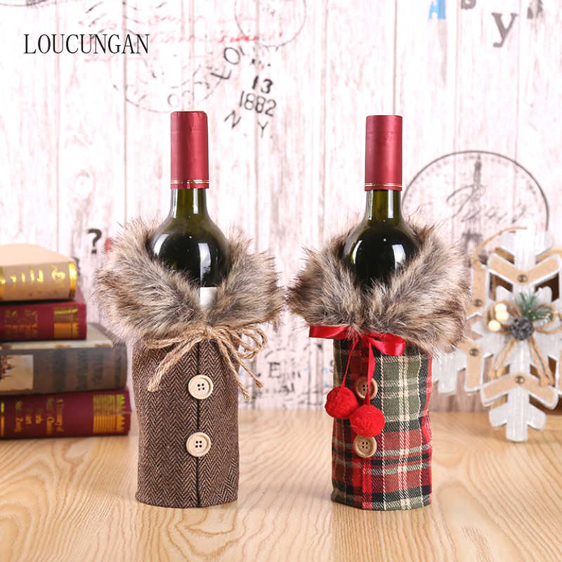 New Year 2020 Christmas Wine Bottle Dust Cover Santa Claus Gift Bags Xmas Noel Christmas Decorations for Home Dinner Table Decor