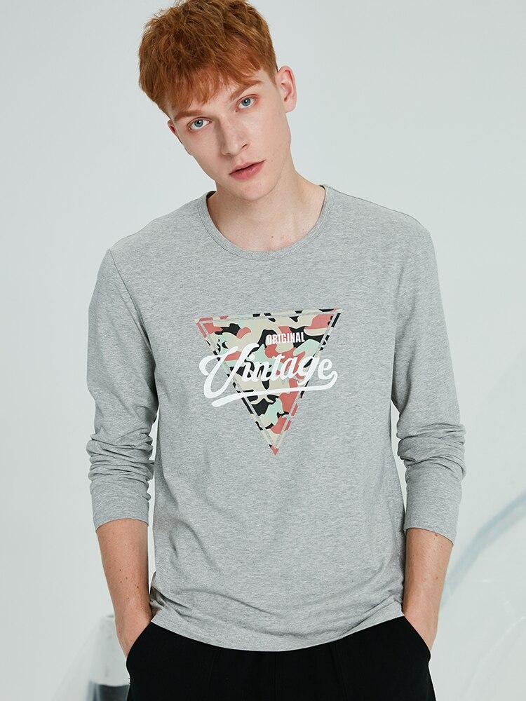 Pioneer Camp, футболка с длинными рукавами, мужские повседневные футболки с треугольным узором, Осенние футболки с вырезом лодочкой, эластичные подростковые футболки для мужчин, ACT901282
