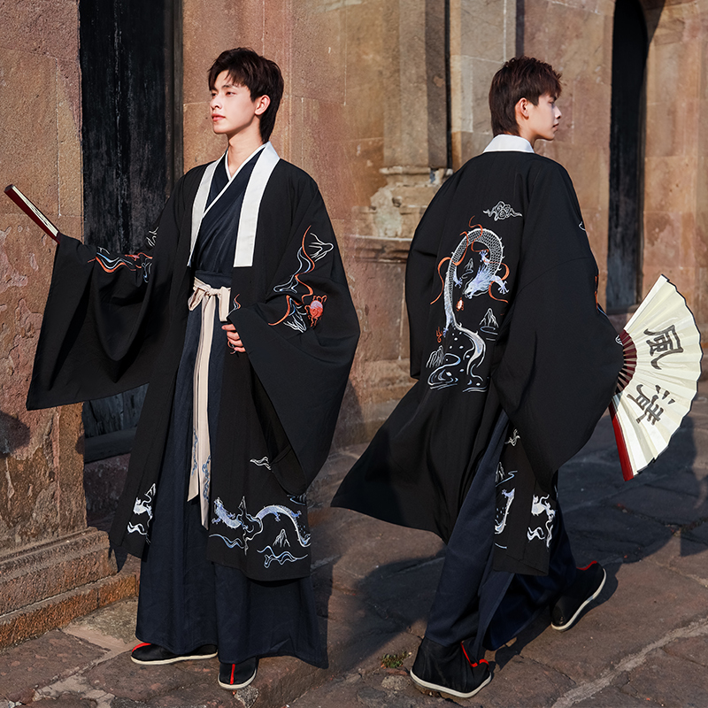 Chinese Traditional Ancient Men Clothes Han/Tang Dynasty Men Costumes Folk Dance Stage Performance Clothing Black Hanfu VO343