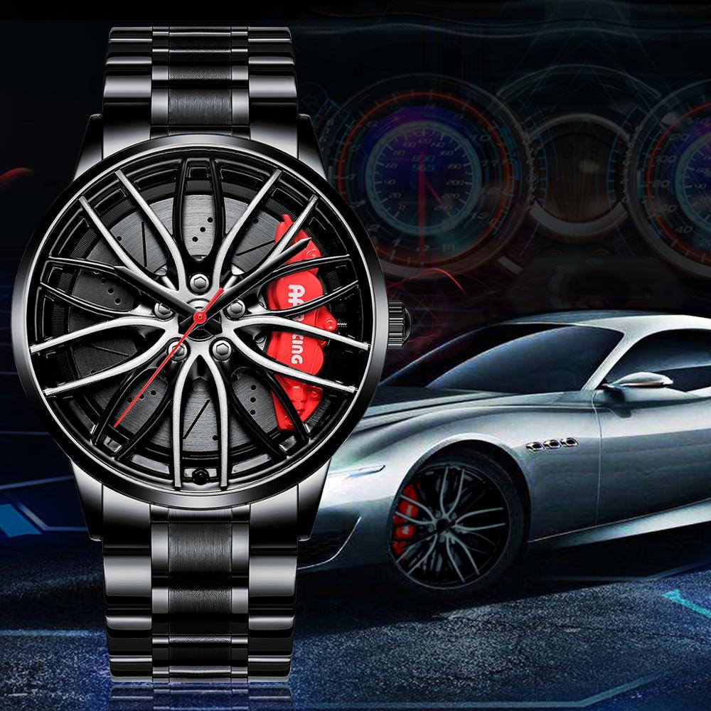 NEKTOM Watches Men Car-Wheel Creative-Watch Stainless-Steel Custom-Design Waterproof