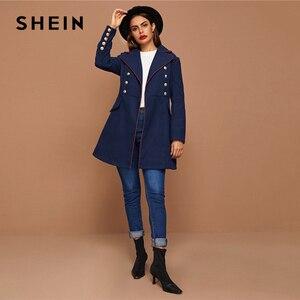 Image 3 - SHEIN siyah yaka yaka altın düğme detay kontrast boru ceket kış uzun kollu zarif dış giyim uzun bezelye Coats