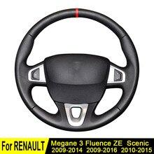 Osłona na kierownicę do samochodu dla Renault Megane 3 2014-2009 Scenic 2015-2010 Fluence ZE 2016-2009 miękka sztuczna skóra