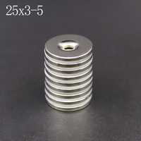 5/10/20 個ネオジム磁石 25 ミリメートル × 3 ミリメートル穴 5 ミリメートル N35 ネオジムラウンドスーパー強力な強力な永久磁気 imanes ディスク 25x3Hole 5