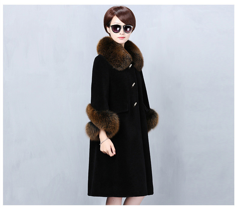 Coat Fur Real Winter Jacket Women Clothes 2020 Sheep Shearling 100% Wool Coat Female Fox Fur Collar Long Jackets MY4567 S