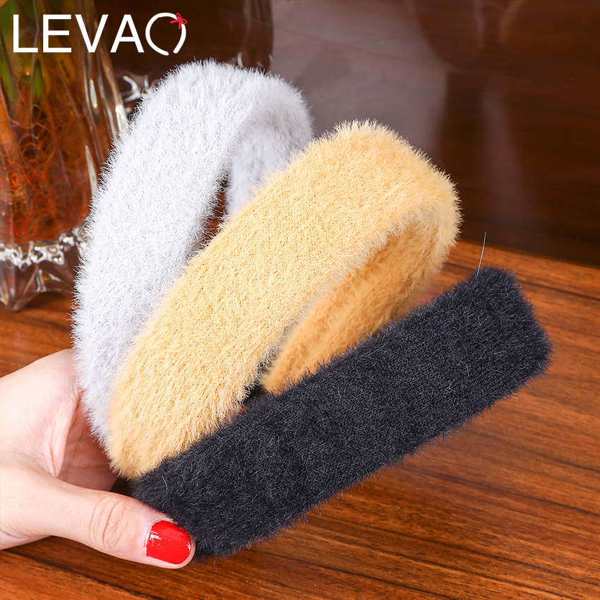 Levao Winter Warm Plush Hairband Solid Color Mohair Fabric Headband For Women Hair Accessories New Knitting Hair Hoop Bezel
