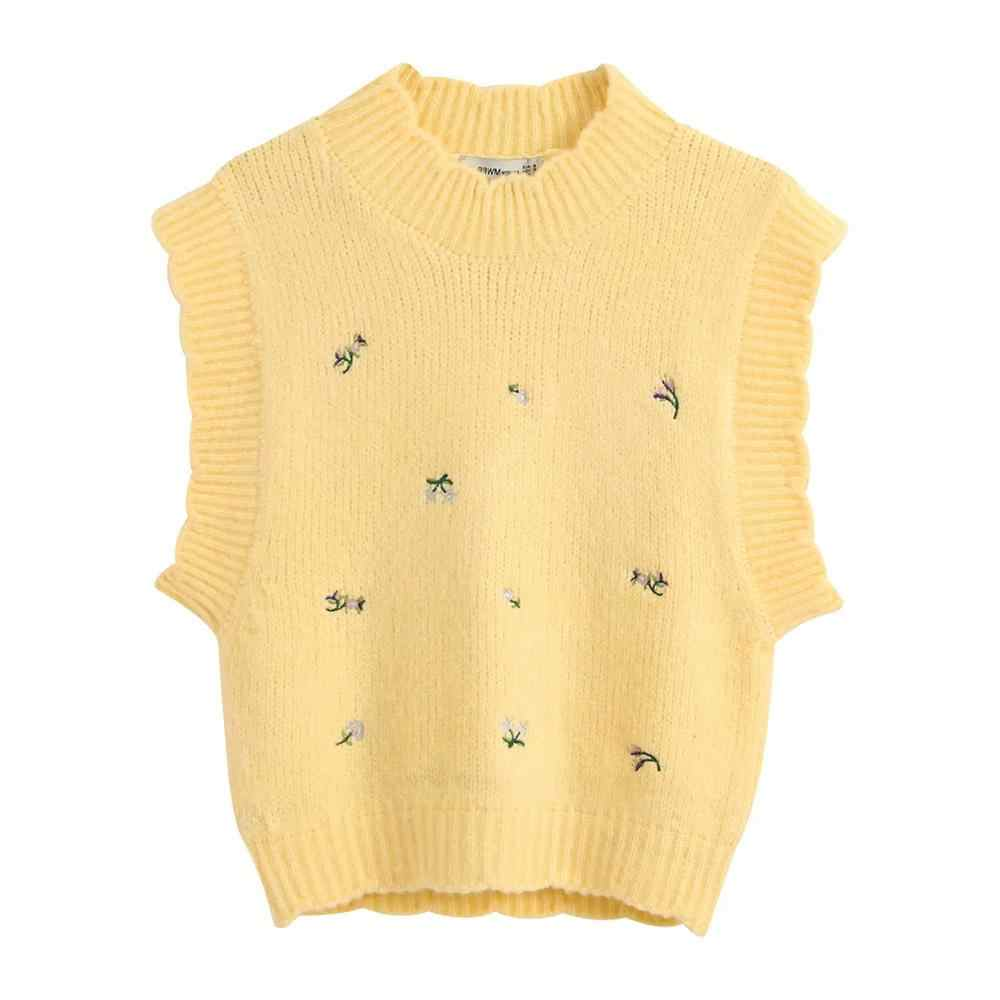 ZA 여성 꽃 수 놓은 니트 조끼 스웨터 풀오버 캐주얼 당겨 여성 여성 의류
