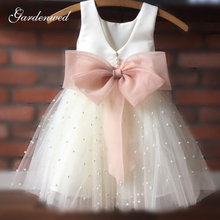 Pageant-Dresses Flower-Girl First-Communion Sashes Tulle Bride Little Bow Cute Pearls