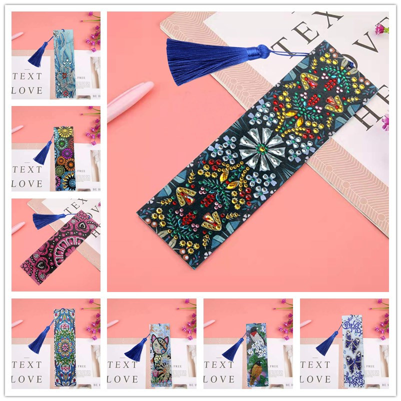 5D DIY Diamond Painting Leather Bookmark Bird Butterfly Flower Cat Tassel Special Shaped Diamond Bookmark Embroidery Crafts