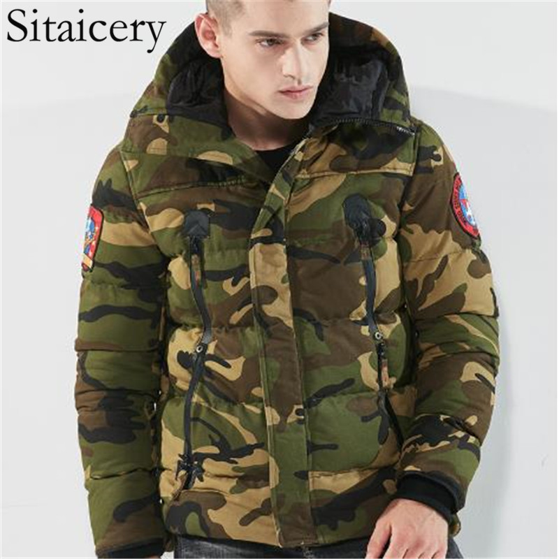 Sitaicery Down Jacket Man Thick Warm Hooded Zipper Camouflage Mens Coats Clothing Outwear Gift For Friend Son Coat Wholesale