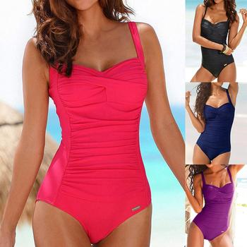 Strój kąpielowy jednoczęściowy Plus Size kobiety czerwony wyszczuplający strój kąpielowy seksowny klasyczny strój kąpielowy Momokini letni plażowy strój kąpielowy tanie i dobre opinie seashy CN (pochodzenie) POLIESTER NYLON spandex WOMEN Stałe do pływania Dobrze pasuje do rozmiaru wybierz swój normalny rozmiar
