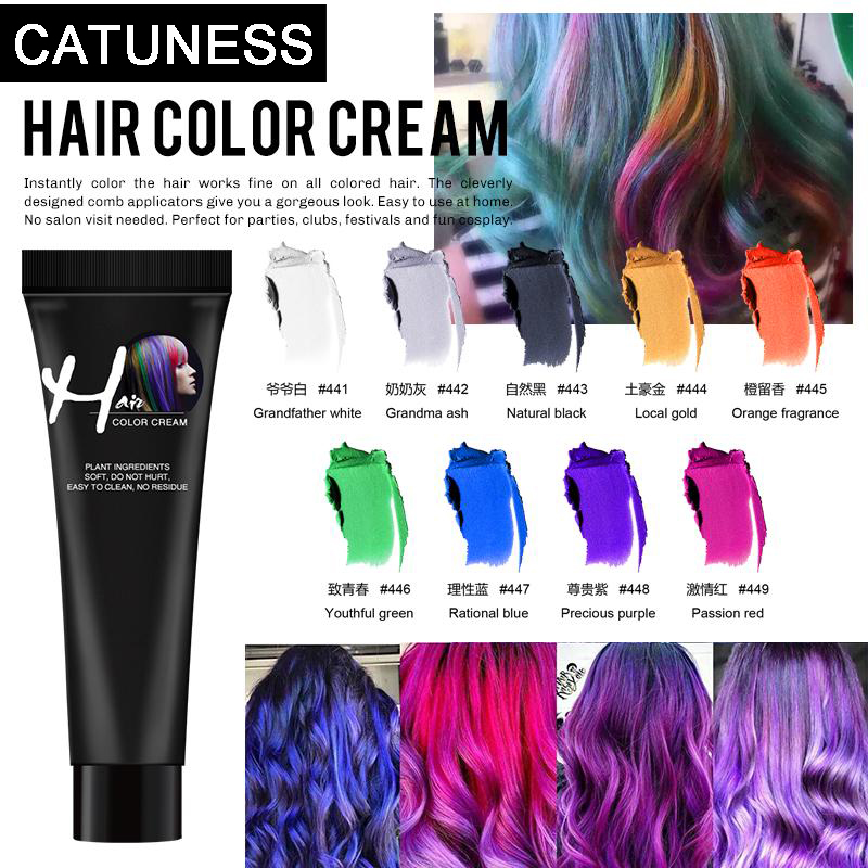 New Hair Girls Beauty Hair 9 Colors Hair Color Hair Dye Non-toxic DIY Hair Color Dye Cream Punk Style Blue Grey Purple Hair Dye
