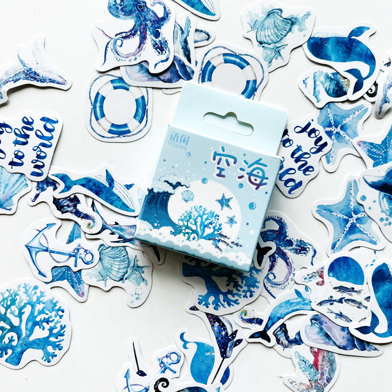 50 Pcs/Pack Cute Sea Creature Shell Whale Paper Stickers DIY Decorative Sealing Paste Stick Label Stationery Kids Gift