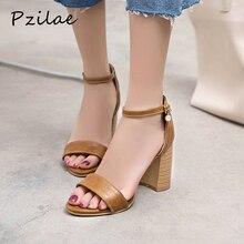 Pzilae/летние женские босоножки с ремешками на лодыжках однотонная женская обувь в сдержанном стиле на Высоком толстом каблуке с открытым носком