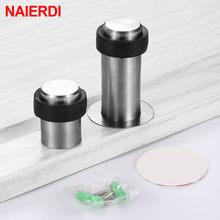 NAIERDI – butoir de porte en acier inoxydable, protection de porte, Anti-Collision, rond auto-adhésif, quincaillerie de protection murale, 4 pièces