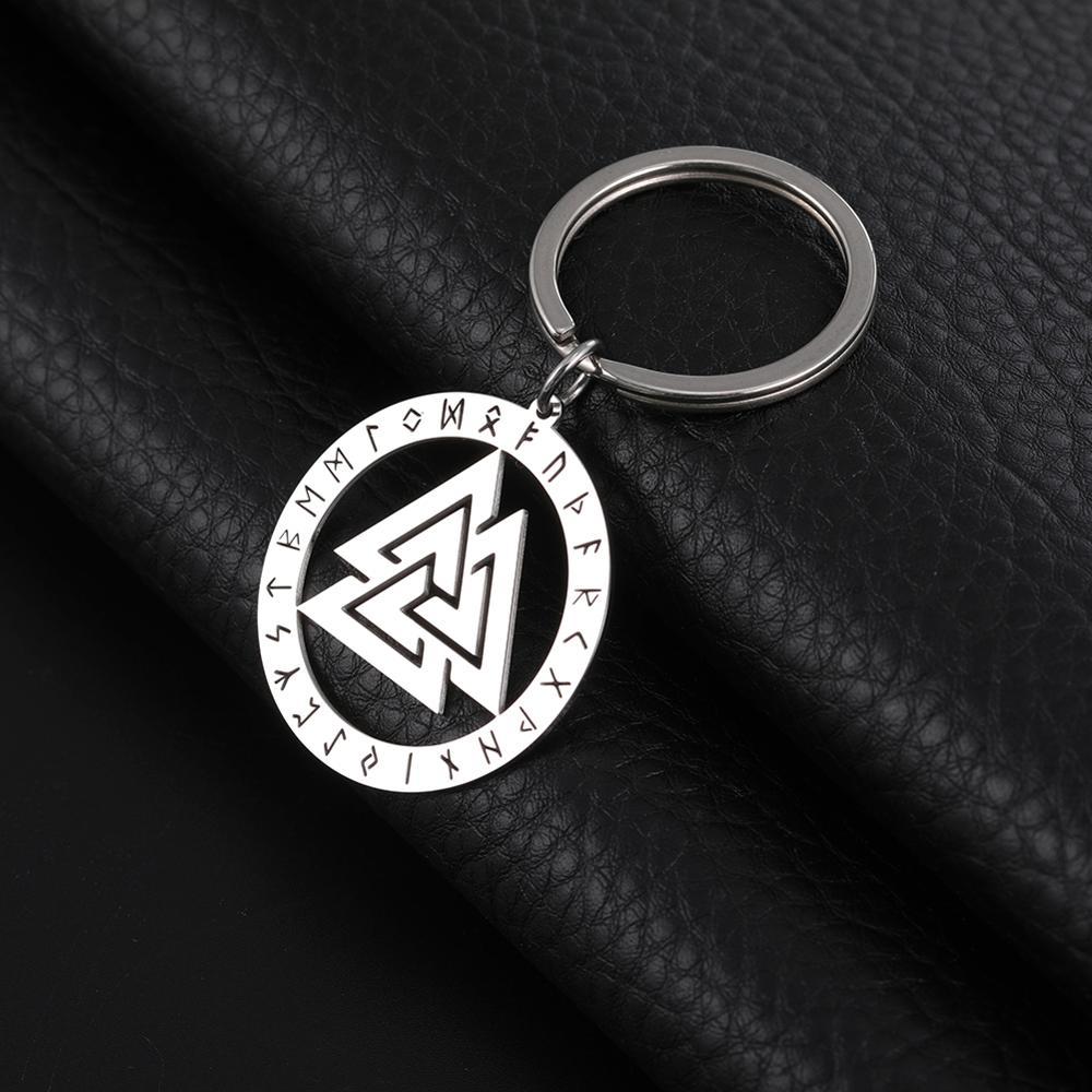 My Shape Key Chain Hrunger Valknut Runes 316L Stainless Steel Key Ring Pendant Jewelry Viking Nordic Engraved Keyholder Gift