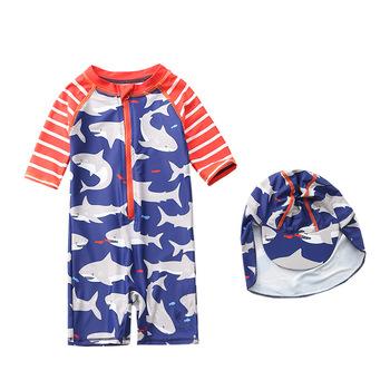 Stroje kąpielowe dla dzieci męskie rekiny dla niemowląt jednoczęściowe stroje kąpielowe Korea południowa dla dzieci męskie dla dzieci strój kąpielowy dla chłopców INS tanie i dobre opinie Other Boxers Briefs One piece Swimming Suit Two piece Swimsuits Bikini Liaoning Xingcheng