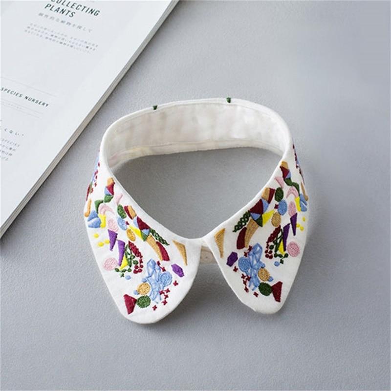 Classic Embroidery Fake Collar Shirt Tie Vintage Detachable Collar False Collar Lapel Blouse Top Women Clothes Accesssires W5
