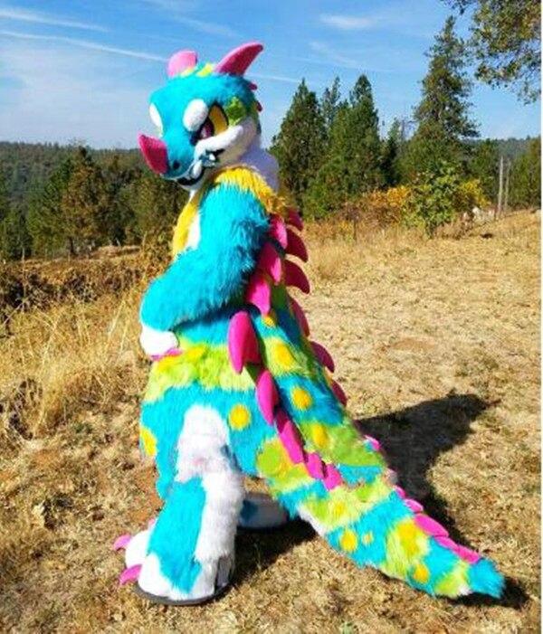 Furry Husky Dog BENT LEGS Fursuit Mascot Costume Faux Fur Suit Outfit Dress