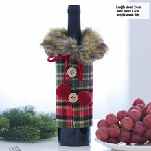 Red Wine Bottle Cover  Christmas Style American Long Plush Plaid Linen Set Holiday Supplies